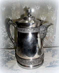 Huge Victorian Aesthetic Silver Ice Water by LionheartGalleries