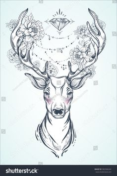 Vector Deer Head Decorated With Peony Flowers And Diamond Beads. Spiritual Art, Yoga, Boho Stock Vector - Illustration of beads, life: 118836944 Deer Skull Tattoos, Deer Head Tattoo, Skull Girl Tattoo, Deer Skulls, Head Tattoos, Animal Tattoos, Arm Tattoo, Body Art Tattoos, Fox Tattoos