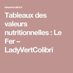 Tableaux des valeurs nutritionnelles : Le Fer – LadyVertColibri