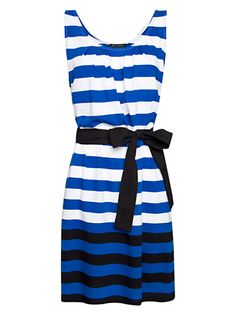 Mango Cotton Blue, White, and Black Striped Dress with Black Ribbon Waist Bow Tie.