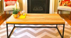 Steel Frame Butcher Block Coffee Table--Restoration Hardware Knock Off--Great site for all kinds of retailer knock offs!!