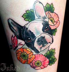 Boston Terrier tattoo - very colorful and really shows the dog's personality