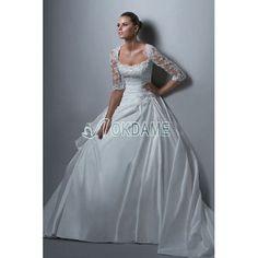 [165,83€] Romantisches formelles bezauberndes lockeres Brautkleid aus Taft mit halben Ärmeln