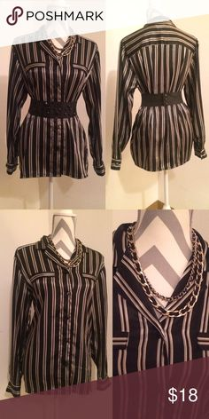Vintage size 8 black, gold and silver striped top Cute 80s smooth striped button up.  Black and silver with thinner gold stripes, wrap a belt around or wear under a tailored blazer for two different chic looks.  Size 8 or large. Tops Button Down Shirts