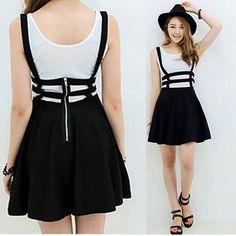 Summer Style Retro Hollow Mini Skater Cute Women Girl Suspender Skirt Straps High Waist Skirt  6 Colors #Affiliate
