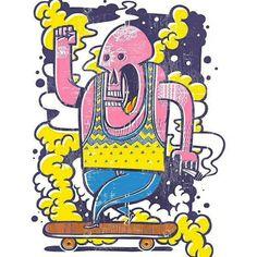 Skull Skate - Risograph Print