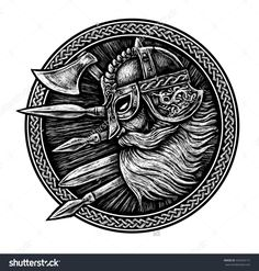 Ancient Viking Head In A Ring With Scandinavian Ornament Logo For Mascot Design. Graphic Illustration. The Ax , A Sword , A Spear - 435420172 : Shutterstock