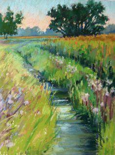 Zeeb Creek Plein Air Pastel Landscape Painting by Jill Stefani Wagner   www.jillwagnerart.com