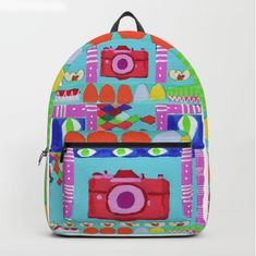 Tati Galiano. Illustration. Society6. Backpack. colorful camera #society6 #camera #colorful