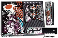 Designer Skin for XBOX ONE 1 Gaming Console +2 Controller Sticker Decals TSUNAMI