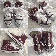 b7fdcb162483 Personalized Bridal Swarovski Crystal Wedding Burgundy Converse - Swarovski  Crystal Wedding Shoes -