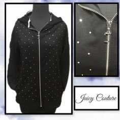 Juicy Couture Rhinestone zip up Juicy Couture Rhinestone zip up Rhinestone embellished front gives this zip up hoodie pizzaz!  Sz small measured flat from armpit to armpit approx 18. Pockets. See pic for fabric content   Split sides slightly high low Juicy Couture Jackets & Coats