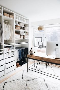 Walk in closet and office combined