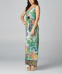 Love this Green & Orange Floral Sleeveless Maxi Dress on #zulily! #zulilyfinds