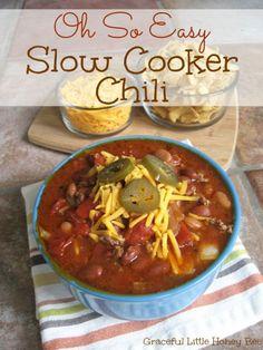 Easy Slow Cooker Chili recipe on gracefullittlehoneybee.com