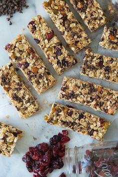 Homemade Chocolate Chip Granola Bars -This recipe calls for a bit of sugar but I will make theses without substituting a bit more honey or maple syrup. Kids will be in heaven.