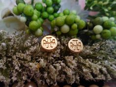DESIGNER INSPIRED upcycled buttons goldtone extra small metal burch logo stud earrings jewelry on Etsy, $20.11 CAD