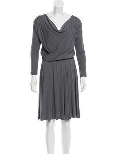 $85 Grey Halston Heritage midi dress with draped scoop neck, long sleeves and elasticized waistband.