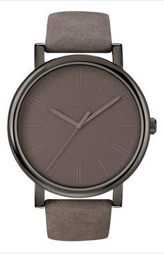 furacoco:    Timex gunmetal leather strap watch