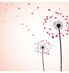 Illustration of Silhouette of dandelion couple in the wind. vector art, clipart and stock vectors. Valentine Doodle, Saint Valentine, Valentines, Botany Illustration, Love Backgrounds, Heart With Arrow, Arte Floral, Bullet Journal Inspiration, Vector Art