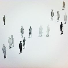 Lovin' these tiny ink-wash people that artist SFMOMA employee Tim Svenonius painted on our office's wall for the staff art show. There are hundreds of 'em wandering the blank whiteness of the hallway, reminding us to take our time and slow do Art And Illustration, People Illustration, Watercolor Illustration, Architecture People, Architecture Drawings, Architecture Career, Ink Wash, Urban Sketching, Art Design