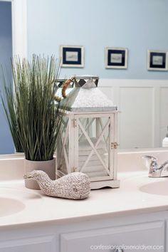 Bathroom Decor Boys' Bathroom Makeover Nautical-inspired boy's bathroom from confessionsofaser. Bathroom Counter Decor, Nautical Bathroom Decor, Beach Theme Bathroom, Beach Bathrooms, Modern Bathroom Decor, Bathroom Kids, Small Bathroom, Lake Bathroom, Bathroom Colors