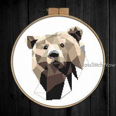 Modern cross stitch pattern, Bear cross stitch pattern, Geometric bear, Animals…