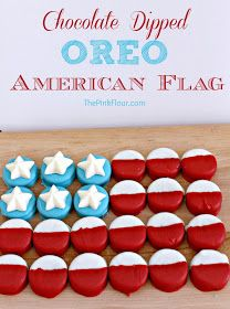 American Flag Oreos - a patriotic treat that will be a hit at any 4th of July or Memorial day party!  Use red and blue sugar cookies for this!