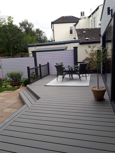 Patio deck designs - Solid German Boards in Premium Plus Slate Grey We have many stockists and distributors around the UK We can also recommend expert installation teams to help you create your idyllic garden ret, Back Garden Design, Modern Garden Design, Backyard Patio Designs, Diy Patio, Low Deck Designs, Front Yard Patio, Slate Patio, Design Jardin, Decks