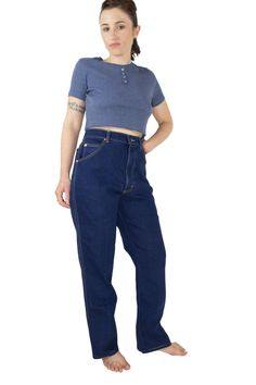 Vintage 70s Lee Riders Jeans | High Waisted Dark Blue Denim | Size 14 | Retro Rockabilly Pants by MainAndGrand on Etsy