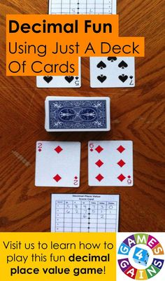 In this quick and easy game, students compete against one another to form the highest decimal number using playing cards. This game challenges students to think critically about the place value of digits in decimal numbers and how each digit's placement impacts the total value of the number. Come visit us at Games4Gains.com to learn how to play!