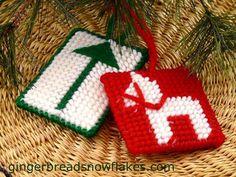 Dala Horse Plastic Canvas gift tag/tree ornament pattrn pdf on gingerbreadsnowflakes.com