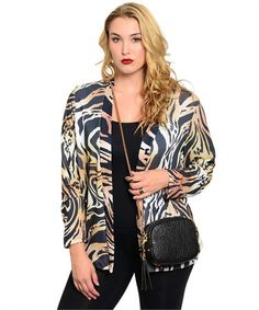 BLACK TAN BROWN CARDIGAN (PLUS) –Very stylish and fashionable cardigan designed to fit any occasion. #fashion #sale #discount #coupon #onlineshopping #boutiques #womenfashion #plussize #curvy