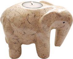 Fossil-Stone Elephant Candle Holder (Large)