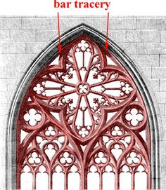 bar tracery: Tracery which is composed of thin stone elements rather than thick ones as in plate tracery The glass rather than the stone dominates when bar tracery is used. It gives a more delicate, web-like effect
