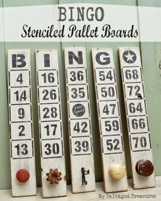 Bingo stencilled pallet board sign / My Salvaged Treasures featured on Funky Junk Interiors Love old signs? This upcycled party is for you! From stencils to hand done to even antiques, be inspired to make your own! Pallet Crafts, Diy Craft Projects, Wood Crafts, Wood Projects, Handmade Crafts, Diy And Crafts, Pallet Board Signs, Pallet Barn, Pallet Wood