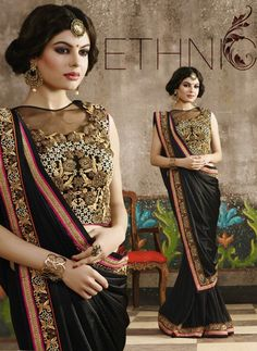 #Black Lycra Saree with #Embroidered #Blouse