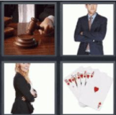 Answers and cheats of the popular game 4 pics 1 word 8 letters cheat 4 pics 1 word judges gavel at courthouse man in suit and tie girl in black blazer deck of cards here you have the word you are looking for expocarfo Choice Image