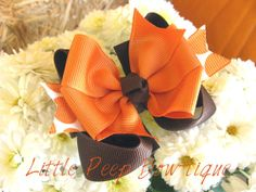 Fall hair bow or Baby Headband orange brown Thanksgiving layered hair bow clip boutique bow on Etsy, $6.00