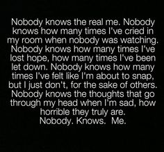 The truth about me… I wonder how many of the people I encounter every day are like this.