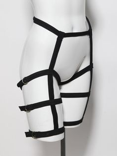 Black and gold triple leg harness belt by ZEF2DEATH, $80.00