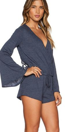 NWOT Chaser long sleeved gray romper, size Large Chaser long sleeved gray romper with drawstring waist and weaved open back, size L, NWOT. This comfortable, versatile romper with a sexy revealing back can be worn as a coverup our dressed up with your favorite heels! No trades. Chaser Other