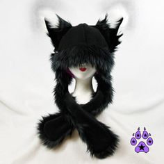 Black Dark FOX kitsune cat Puffet Hat warm rave fleece by pawstar,