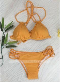 9c762e448c Chicloth Lace Up Bandage Strappy Braided Padded Backless Bikini Set Women  Solid Triangle