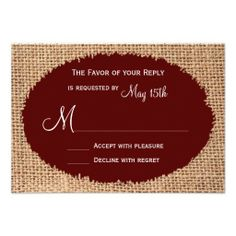 $$$ This is great for          Rustic Country Burlap Maroon Red Wedding RSVP Announcement           Rustic Country Burlap Maroon Red Wedding RSVP Announcement lowest price for you. In addition you can compare price with another store and read helpful reviews. BuyReview          Rustic Count...Cleck Hot Deals >>> http://www.zazzle.com/rustic_country_burlap_maroon_red_wedding_rsvp_invitation-161371031563026803?rf=238627982471231924&zbar=1&tc=terrest