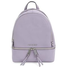 MICHAEL Michael Kors 'Small Rhea Zip' Leather Backpack ($298) ❤ liked on Polyvore featuring bags, backpacks, leather zipper backpack, shoulder bag backpack, backpack shoulder bag, purple leather shoulder bag and leather knapsack