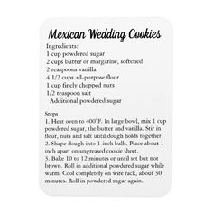 "Shop ""Mexican Wedding Cookies"" Recipe Magnet Fridge created by Frasure_Studios. Mexican Cookies, Mexican Wedding Cookies, Mexican Wedding Traditions, Mexican Food Recipes, Cookie Recipes, Dessert Recipes, Desserts, Gourmet Recipes, Bread Recipes"