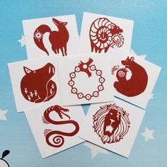 The Seven Deadly Sins Nanatsu no Taizai Dragons Sin of Wrath Tattoo Sticker Waterproof 7pcs/set COS Cosplay Funny Toys