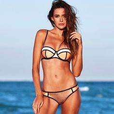 Triangl Bikini Swimwear Orange Gold Metallic Neoprene Bikini Melon Rose Model Cassiehancock__