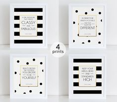 Set 4 Coco Quotes, Coco Chanel Quotes, Fashion Art Print, Instant Download, Printable Decor, Coco Chanel Art Print, Motivational Art